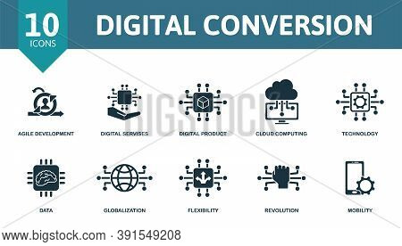 Digital Convertion Icon Set. Collection Contain Agile Development, Digital Services, Digital Product