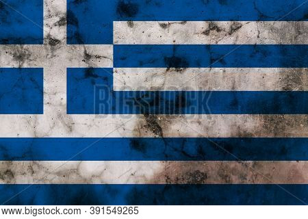 Old Grunge Flag Of Greece Desing Symbol