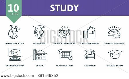 Study Icon Set. Collection Contain Aspiration, Geography, Knowledge Power, School Equipment, Global