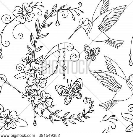 Seamless Pattern With Garden Flowers, Colibri Bird And Butterflies. Monochrome Background For Creati