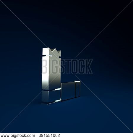 Silver Cartridges Icon Isolated On Blue Background. Shotgun Hunting Firearms Cartridge. Hunt Rifle B