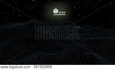 Particle Placement With Hanging Dots In Space. Wave Of Particles. Wave With Dots . Landscape Backgro