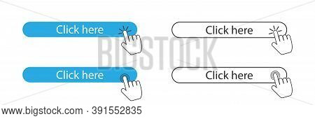 Click Here Button And Cursor Pointer. Isolated Website Registration Button On White Background. Hand