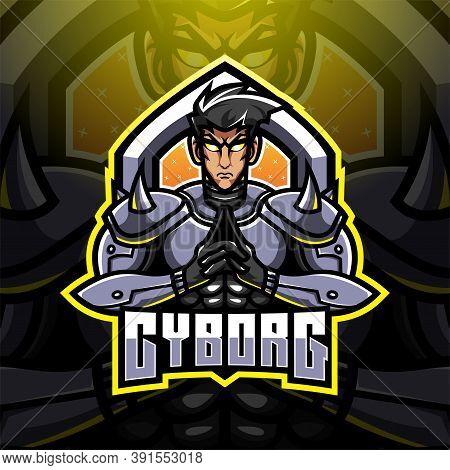 Cyborg Esport Mascot Logo Design With Text