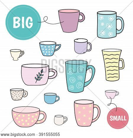 Sorting Game Big And Small Cups. Preschool Worksheet Activity. Educational Game For Kids. Vector Ill