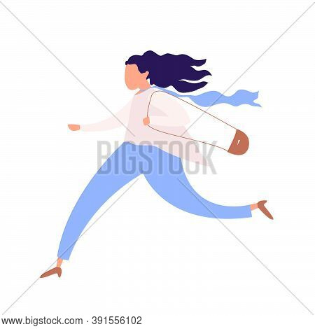 Running Woman, Office Worker Character In Hurry, Rush Hour,  Hasteing Woman With Handbag, Oversleepi