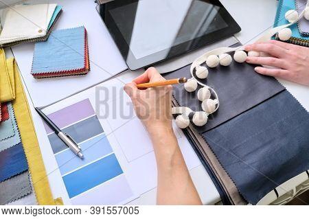 Interior Design, Fabric Samples Sketches Digital Tablet Designers Hands Choosing Materials.