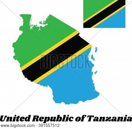 Map Outline And Flag Of Tanzania, A Yellow-edged Black Diagonal Band: The Upper Triangle Is Green An