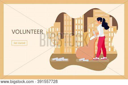 Worker Gathering Litter, Leaves, Empty Bottles. Assistant Or Welfare Worker Restore Order In The Cit