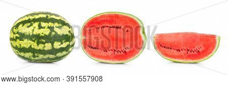 A Whole Round Watermelon, Half A Watermelon And A Cut Watermelon Slice. Concept. Isolated On White B