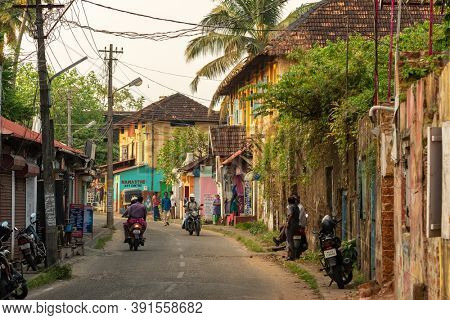 Kochi, India - November 25, 2019: The street view in Fort Kochi with colonial portuguese houses outdoor