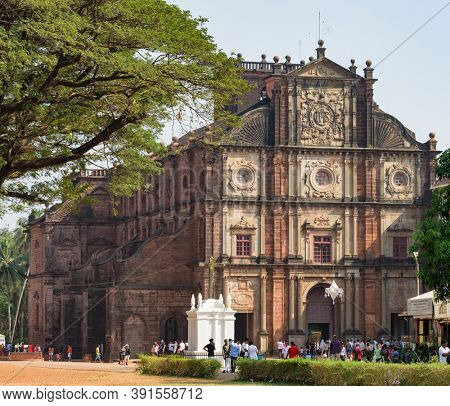 Old Goa, India - January 15, 2020: Basilica of Bom Jesus or Borea Jezuchi Bajilika in Old Goa, India. Basilica is a UNESCO World Heritage Site.