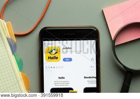 New York, Usa - 26 October 2020: Jumbo Mobile App Logo On Phone Screen Close Up, Illustrative Editor