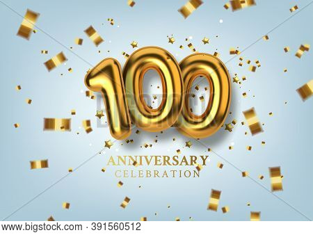 100th Anniversary Celebration. Number In The Form Of Golden Balloons. Vector Illustration.