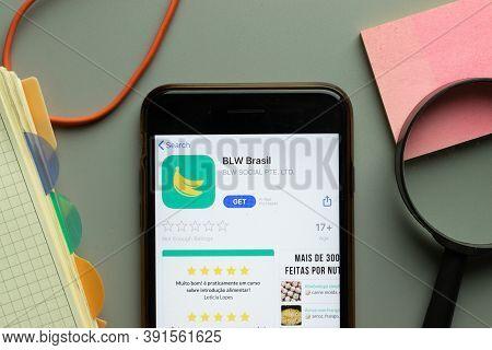 New York, Usa - 26 October 2020: Blw Brasil Mobile App Logo On Phone Screen Close Up, Illustrative E