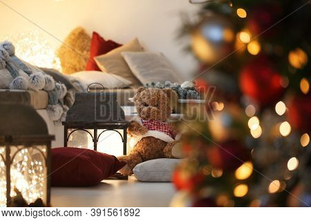 Merry Christmas, Comfortable Living Room With Tree, Decorations And Lights