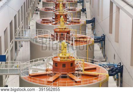 Hydroelectric Power Plant On Dam. Renewable Energy Source, Hydroelectric Power Station, Hydropower S