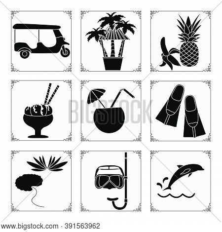 Thailand Symbols Set Vector Illustration Cocktail, Tuk-tuk, Palm Trees, Hammock, Banana, Pineapple,