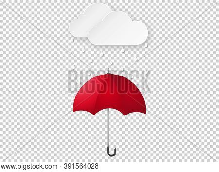 Cloud Rain Drop On Red Umbrella Isolate On Png Or Transparent  Background, Rain Season, Cloudy Day,w