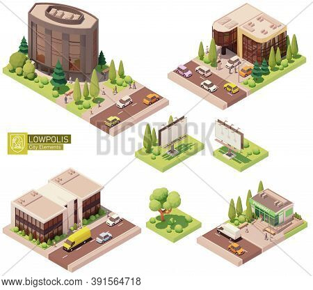 Vector Isometric Buildings And Street Elements Set. Houses, Homes And Offices. Pharmacy Store Buildi