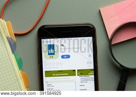 New York, Usa - 26 October 2020: Fk Zorginstituut Nederland Mobile App Logo On Phone Screen Close Up