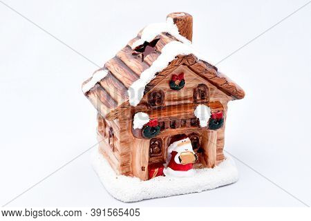 Fairy Hut, Snow On The Roof, Santa Claus, Home Of Santa Claus, On A White Background