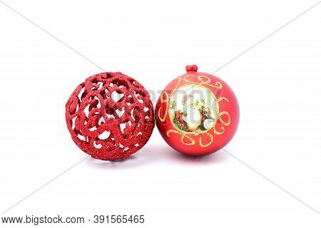 Toys For Christmas Tree, Two Red Balls, With The Image Of Santa Claus, On A White Background