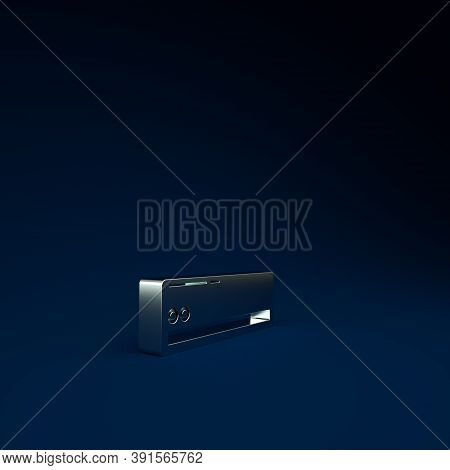 Silver Air Conditioner Icon Isolated On Blue Background. Split System Air Conditioning. Cool And Col