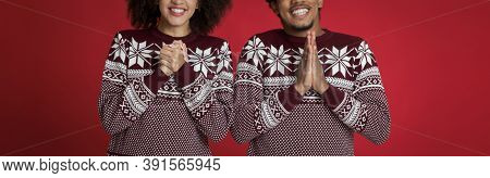 Please, Let Wish Come True. Believers African American Young Male And Female In Same Patterned Sweat