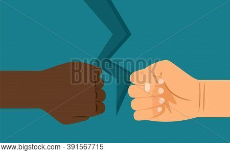 Interracial Confrontation. Hand Of European And African American, Difference In Mentality Or Complex