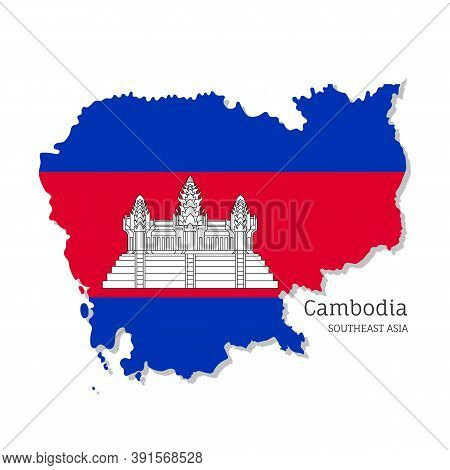 Map Of Cambodia With National Flag. Highly Detailed Editable Map Of Cambodia, Southeast Asia Country