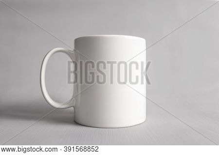 Empty Mug Mock-up, Close Up White Coffee Cub Isolated On Grey Background, Blank Front View Classic W