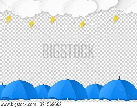 Cloud Rain With Umbrellas, Thunderbolt  Isolate On Png Or Transparent, Clear Sky With Cloud, Rain Se