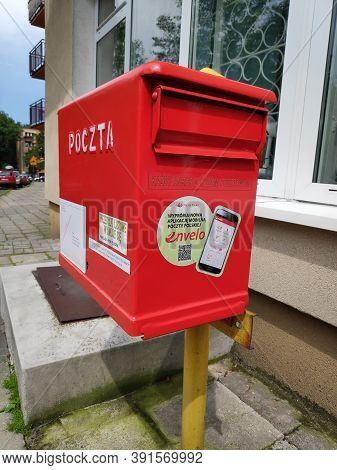 Bytom, Poland - June 26, 2020: Public Mail Box In Bytom, Poland. Poczta Polska Is The National Post