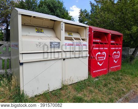 Wroclaw, Poland - August 9, 2020: Containers For Second-hand Clothes Recycling Operated By Fundacja