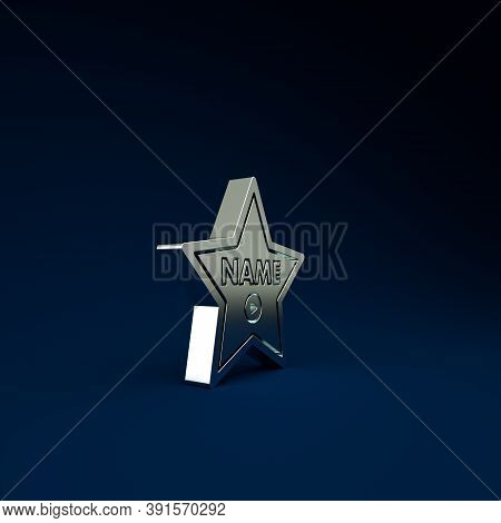 Silver Hollywood Walk Of Fame Star On Celebrity Boulevard Icon Isolated On Blue Background. Hollywoo