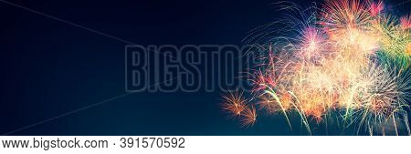 Firework show on new years eve. Fireworks background