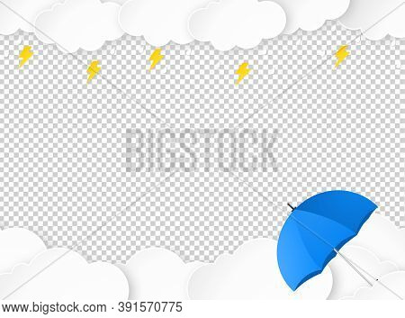 Cloud Rain With Umbrella, Thunderbolt  Isolate On Png Or Transparent, Clear Sky With Cloud, Rain Sea