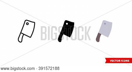 Cleaver Icon Of 3 Types Color, Black And White, Outline. Isolated Vector Sign Symbol.