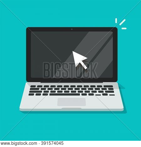 Computer Screen With Pointer Mouse Arrow Icon Vector Flat Cartoon Illustration, Notebook Or Laptop P