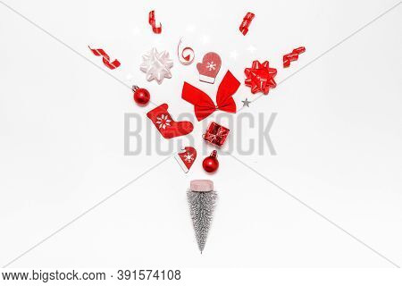 Winter Background White. Stocking, Gifts, Winter Tree, Ribbon And Bow In Christmas Composition On Wh