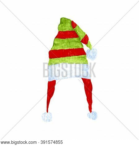 Watercolor Vector Tracing Christmas Long Elf Hat Multicolored Stripe Cap. Gnome Hat, Hat For Christm