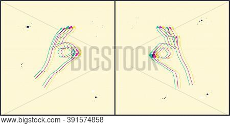 Ok Or Excellence Gesture. Stereoscopic Vector Hand Showing Okay Or Excellent. Background With 3d Ste