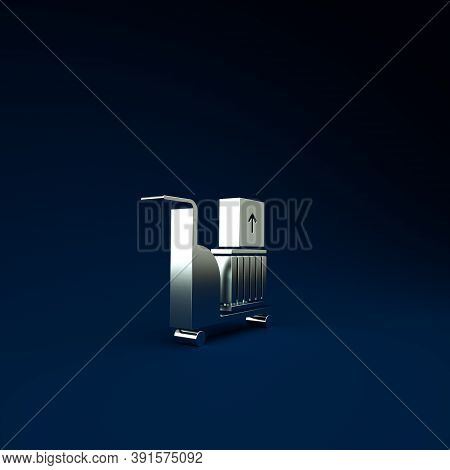 Silver Electric Hand Truck And Boxes Icon Isolated On Blue Background. Dolly Symbol. Minimalism Conc