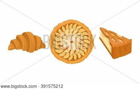 Baked Sweet Pie With Filling And Crust Made Of Shortcrust Pastry And Croissant Vector Set