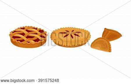Baked Sweet Pie With Filling And Crust Made Of Shortcrust Pastry And Dumpling Vector Set