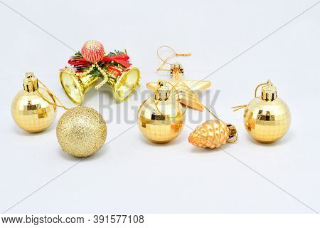 Toys For Christmas Tree, Set Of Golden Ornaments, Ball, Star, Bells, White Background
