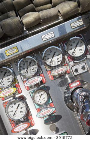 Close Up Fire Engine Dials