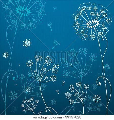 Deep blue dandelion flowers