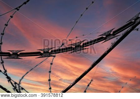Barbed wire on dramatic sky background at sunset, selective focus